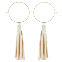 Ivory Leather Tassle Earrings