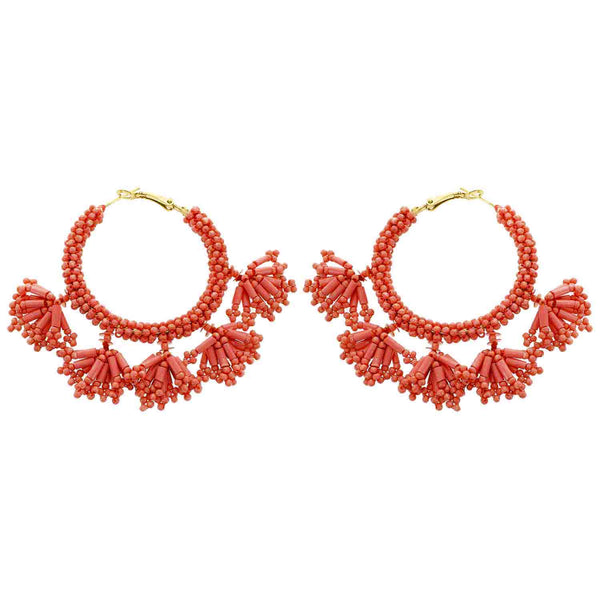 Dark Peach (Coral) Seed Bead Dangle Hoop Earrings