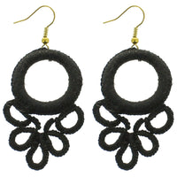 Black Circle Wrapped Earrings