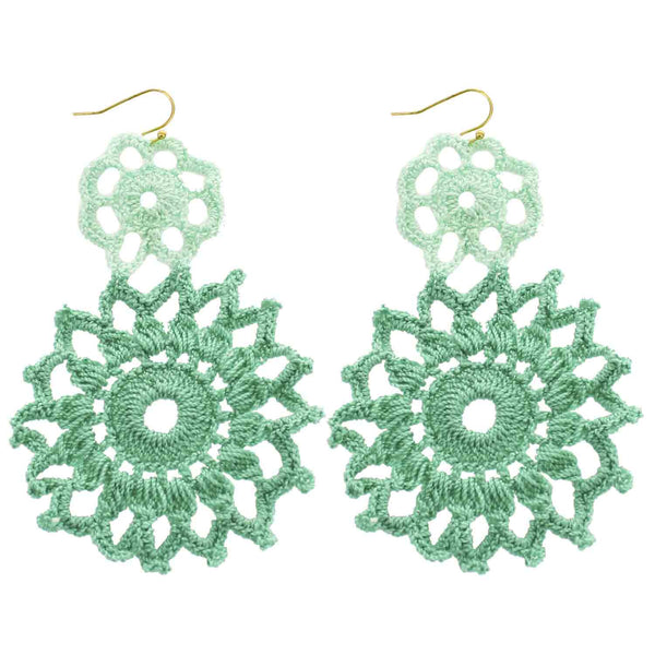 Green Hand Crochet Double Flower Earrings
