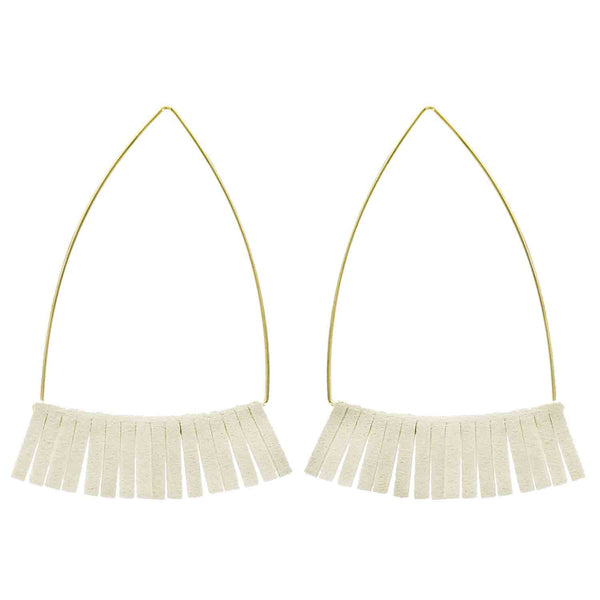 Gold and Ivory Leather Triangle Earrings