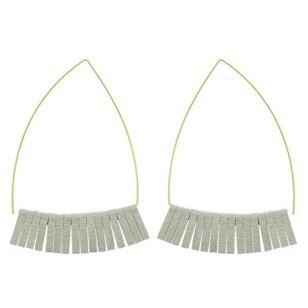 Gold and Light Gray Triangle Earrings