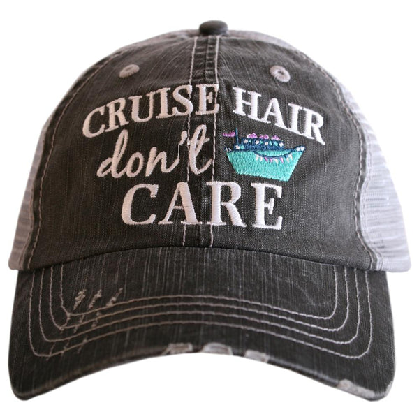 """Cruise Hair Don't Care"" Trucker Hats in Grey & Mint"
