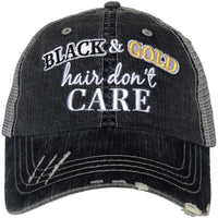 Black and Gold Hair Don't Care Hat