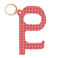 Red Ikat Pattern Hands Free Key Chain