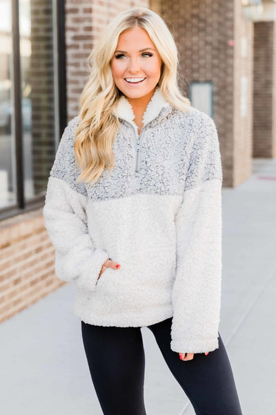 Pullover Sherpa Grey & White