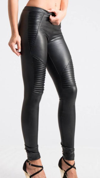Bottoms - Faux Leather Moto Leggings