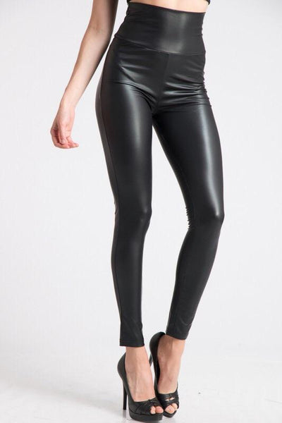 Bottoms - High Waisted Faux Leather Leggings