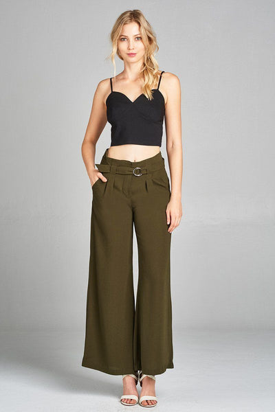 Bottoms - Olive Wide Leg Pants