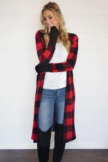 Buffalo Check Thumb-hole Cardigan