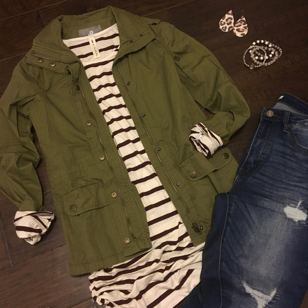 Cardigan - Olive Green Military Jacket