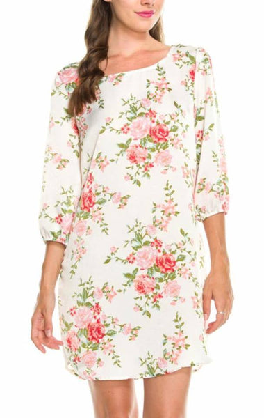 Dresses - 3/4 Sleeve Tunic Floral Dress