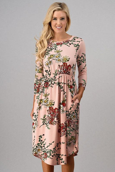 Dresses - Floral Print Dress ~ MAUVE
