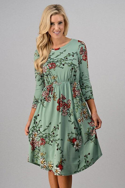 Dresses - Floral Print Dress ~ MINT