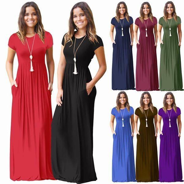 Dresses - Short Sleeve Maxi Dress