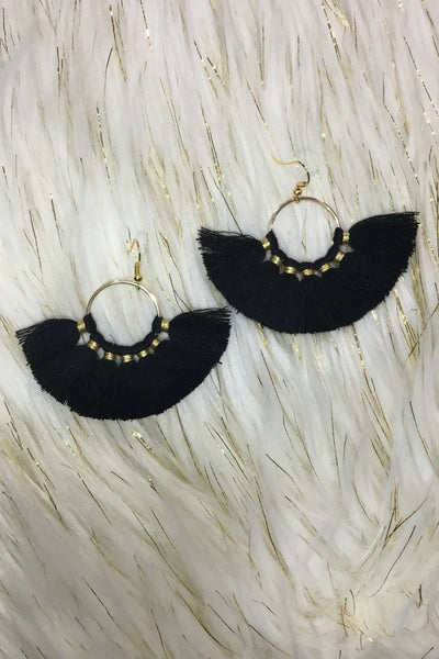 Earrings - Hooped Tassel Earrings BLACK