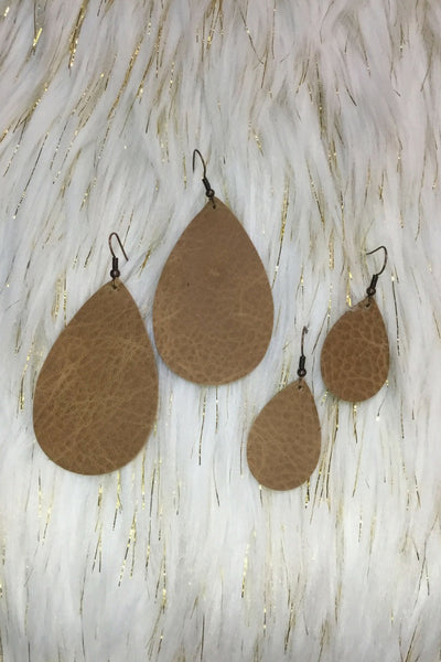 Earrings - Leather Teardrop Earrings BROWN