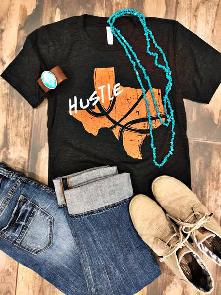 Graphic Tee - Hustle Texas Basketball Tee