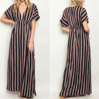 Striped V Neck Maxi