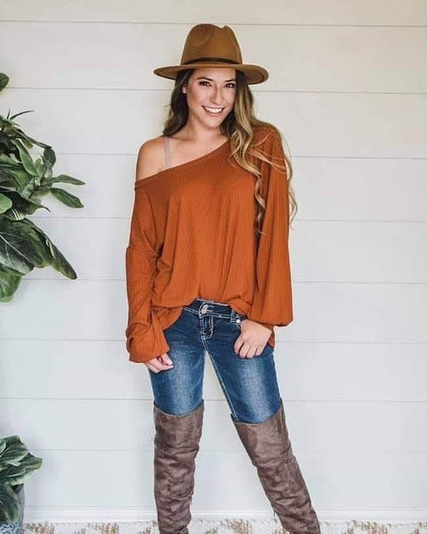 Dani Rust Off Shoulder Top
