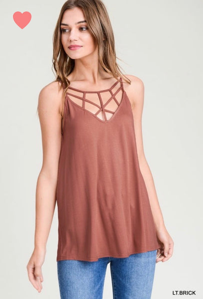 Solid Tank Top with Strappy v-neck
