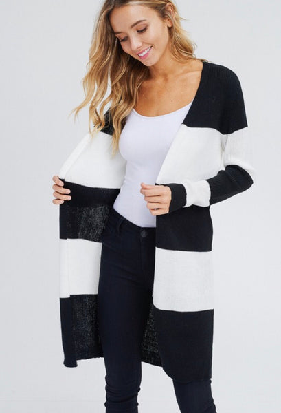 Black & White Striped Cardigan