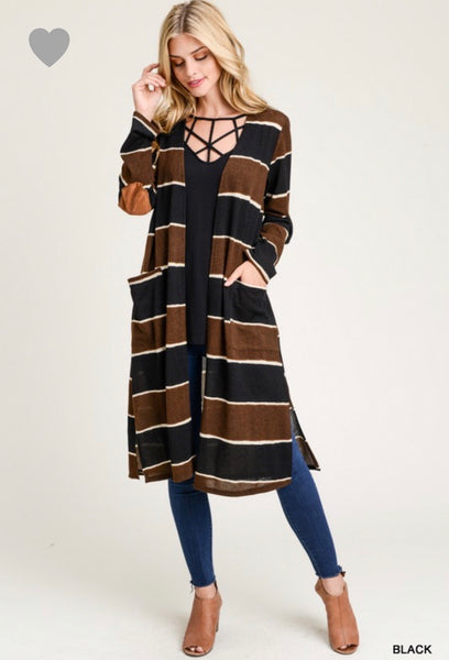 Long Sleeve Elbow Patch Striped Long Body Cardigan