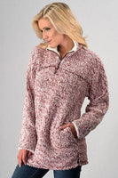 Sweatshirt - Fleece Pullover With Front Zip & Side Pockets