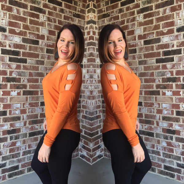 Tops - Deep Orange Cutout Sleeve Top