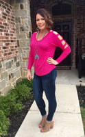 Tops - Hot Pink Cutout Sleeve Top