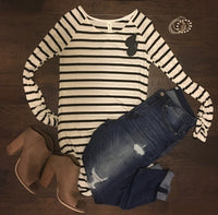 Tops - Ivory & Black Striped Tunic