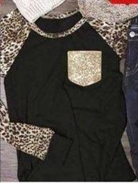 Tops - Leopard Sleeve Sequined Pocket Tee