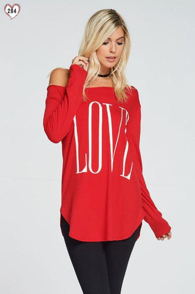 Tops - LOVE Red One Shoulder Top