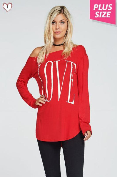 Tops - LOVE Red One Shoulder Top ~ CURVY SIZES