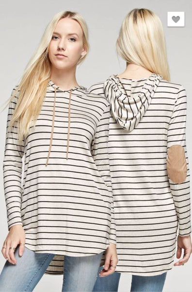 Tops - Striped Hoodie With Elbow Patch