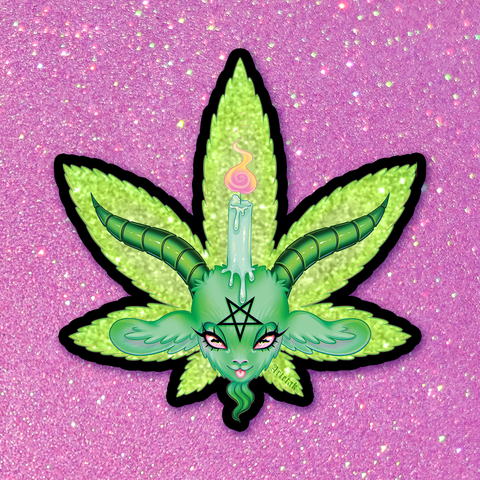 Devil's Lettuce Glitter Sticker