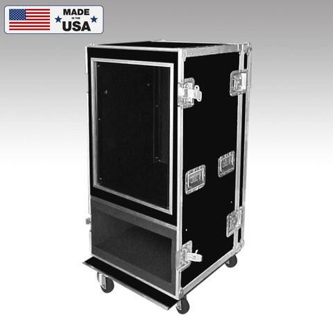 14 Space Shockmount Rack Case with Amp Head Bottom Custom Road Case