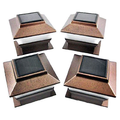 "4""x4"" Bronze/Copper Outdoor LED Solar Post or Rail Caps - Falenla"