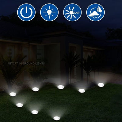 Solar In-Ground, Garden, & Pathway Lights With 8 Integrated LED's (4 pack) - Falenla
