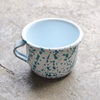 Enamel Teal Paint Splatter Mug