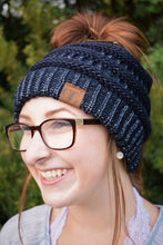 Navy Metallic Messy Bun Beanie