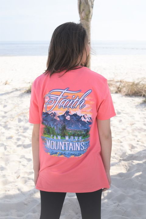 Faith Can Move Mountains - Coral SIZE SMALL