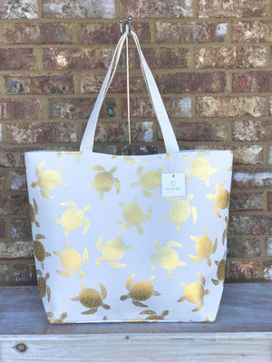 White & Gold Turtles Tote