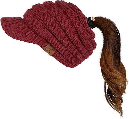 Burgundy Messy Bun C.C Knit Hat with Brim