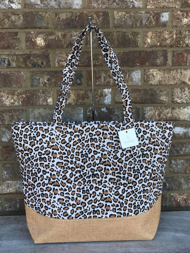 Cheetah with Woven Bottom Tote