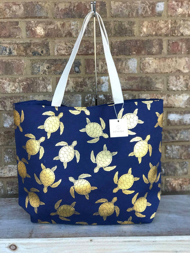 Navy & Gold Turtle Tote