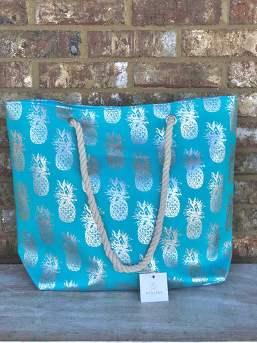 Teal & Silver Pineapple Tote