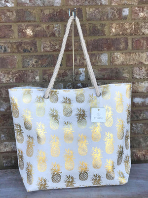 White & Gold Pineapple Tote