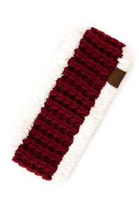 Burgundy & Sherpa Headband