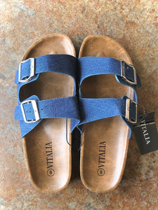 2 Strap Sandal- Blue Denim